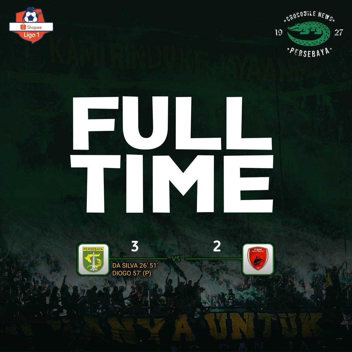 Full Time: Persebaya 3-2 Psm Makassar _ ⚽️ Da Silva 26' 51' ⚽️ Diogo 68' (P)  Alhamdulillah Tiga poin di Batakan! Fokus di Pertandingan selanjutnya! . #Persebaya #bajolijo #greenforce #CrocodileNews #bonek #bonita #PersebayaDay