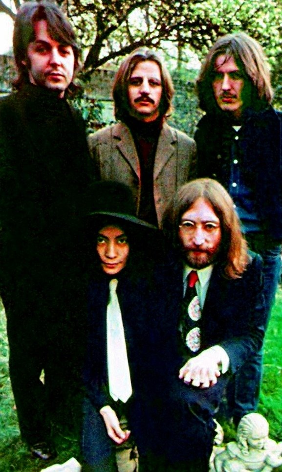Paul, George and Ringo very happy to pose with John and Yoko, April 1969 #TheBeatles