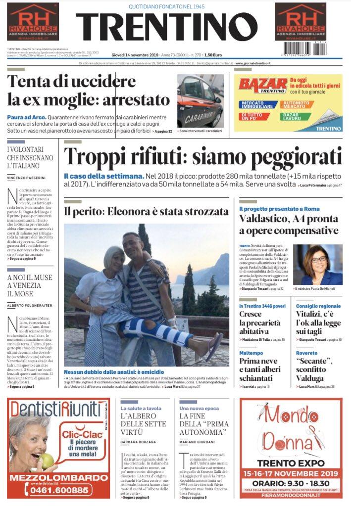 Buongiorno da #Trento con la #primapagina di oggi ...