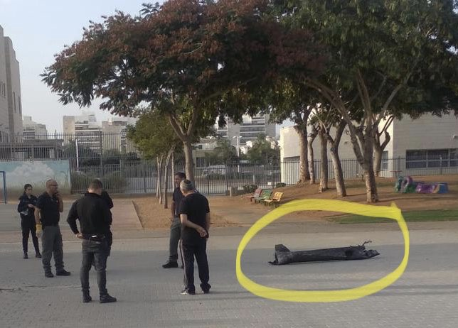 Photo taken at a school in Ashdod. That's a rocket that was shot from Gaza. Each of the 360 rockets fired over the last 2 days was an indiscriminate attempt to murder - even school children are not off limits to Palestinian Islamic Jihad.  #IsraelUnderFire <br>http://pic.twitter.com/BvrtKibkxG