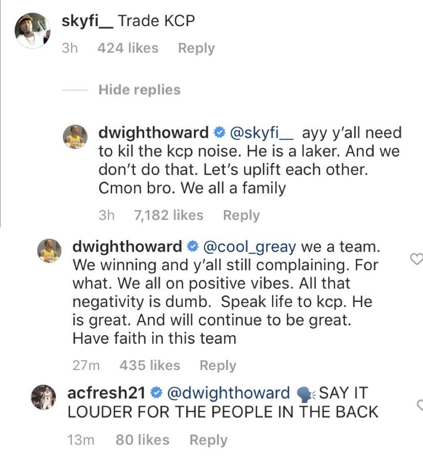 Dwight Howard and Alex Caruso defending KCP.. should i stop with the slander?
