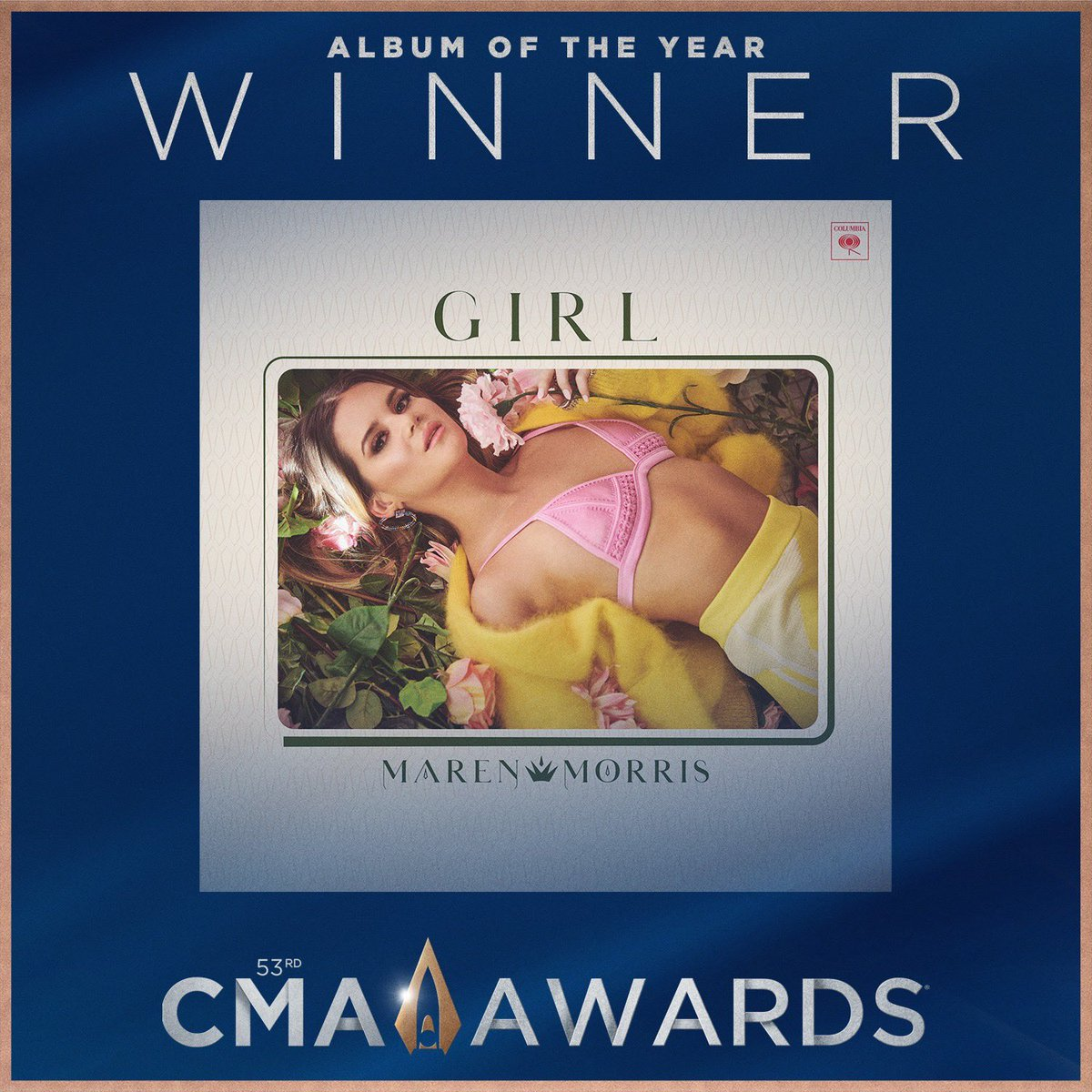It's been almost a whole year since I was so lucky to hear this album in London. I knew back then that it was truly special. Could not be more proud of you MM 💖✨@MarenMorris #GIRL #CMAawards2019 #AlbumOfTheYear