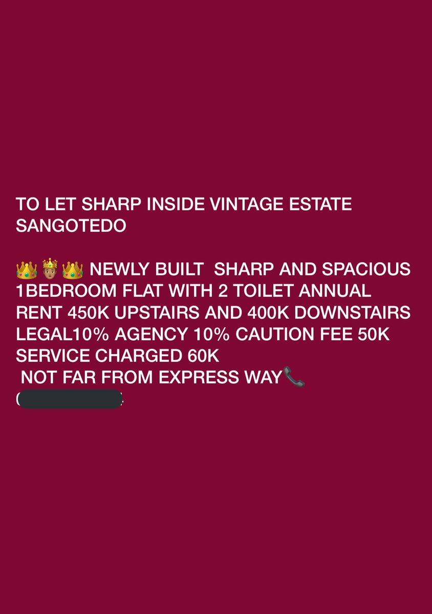 To Let!!!   Newly built Mini Flat at Vintage Estate Sangotedo.  Price: 400k-450k Annual Rent  Pls kindly RT & DM if interested  <br>http://pic.twitter.com/BLOvQAkwi3