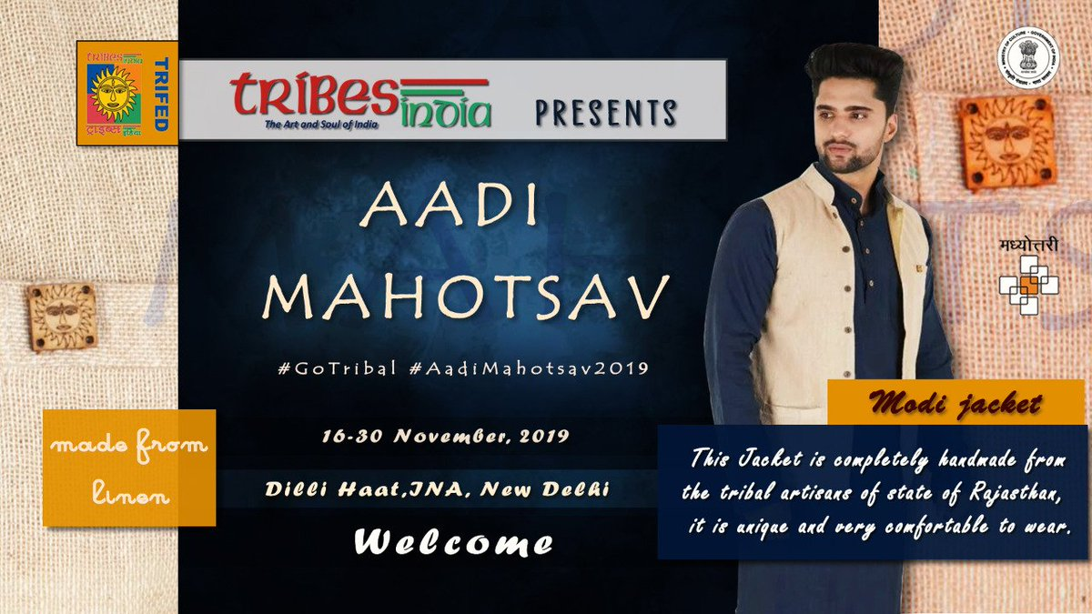 """""""Aadi Mahotsav 2019"""" - Tribes India brings to you fine line of Clothing handcrafted by Tribes from all over India, from 16th November to 30th November 2019, at Dilli Haat, INA, New Delhi.#GoTribal #AadiMahotsav2019 #MakeinIndia #Trifed #VanDhan #PMVDY"""