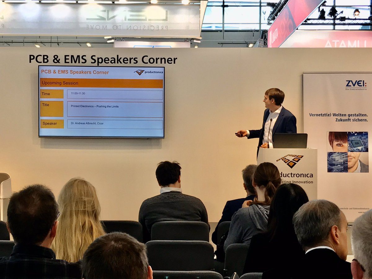 Have you attended the #PCB & #EMS Speakers Corner yesterday? 🤔 Make sure you stop by today! Now: Dr. Andreas Albrecht from @CicorGroup about printed electronics at hall B3. 🖨#prod19 #DontMissIt