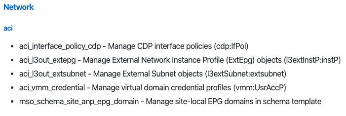 #Ansible 2.9 で新たに追加された #CiscoACI 関連のモジュールは、CDP Interface Policy、L3outへのExternal EPGの構成、L3outへのSubnetの構成、VMM Domain構成時のCredentialの構成、Multi-Siteを通じたSiteローカルなEPGへのDomain構成、の5つ。地味だけど着実に充実。