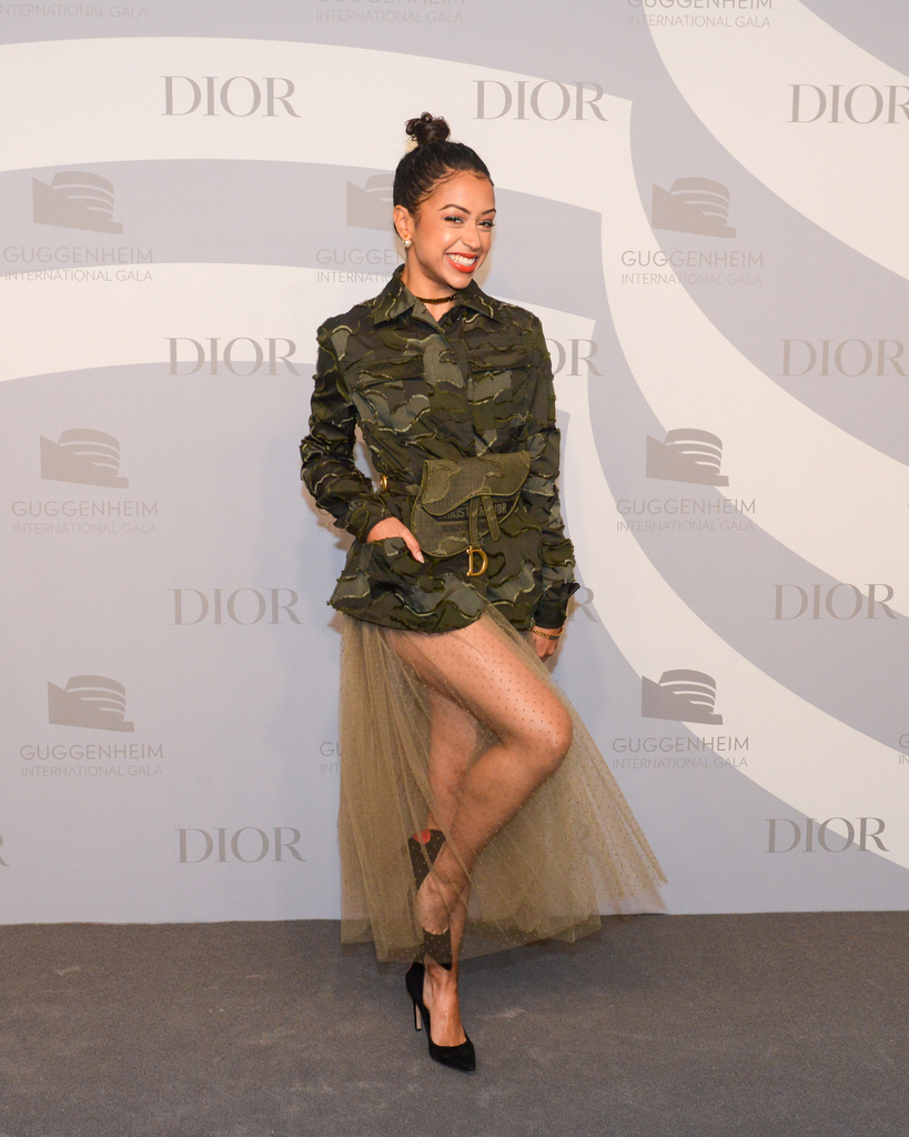 Among the #StarsinDior at the @Guggenheim #GIG2019 last night, @LizaKoshy took to the red carpet in a camouflage Cruise 2020 'Bar' jacket and skirt designed by Maria Grazia Chiuri.