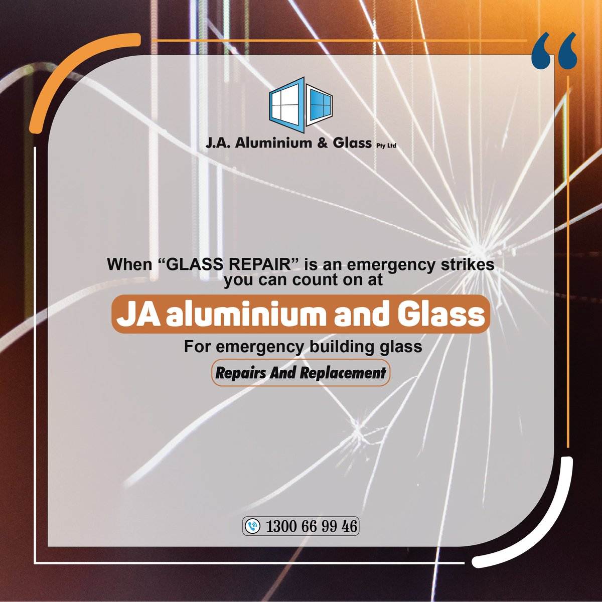 """When """"Glass Repair"""" is an emergency strikes you can count on at JA Aluminium and Glass For Emergency Building Glass Repairs And Replacementhttps://www.jaaluminiumglass.com.au/CONTACT US For Any Query: Call. 24/71300 66 99 46 . 0498 626 666#windows #aluminium #doors #workout #designs"""