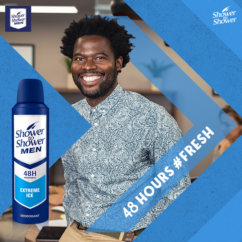 No matter the occasion, trust our Shower to Shower's Extreme Ice deodorant for men to keep you #Fresh for 48hours.http://olivoracosmetics.comAvailable at all Spar, Justrite and Shoprite outlets near you.#OlivoraCosmetics #OlivoraMen
