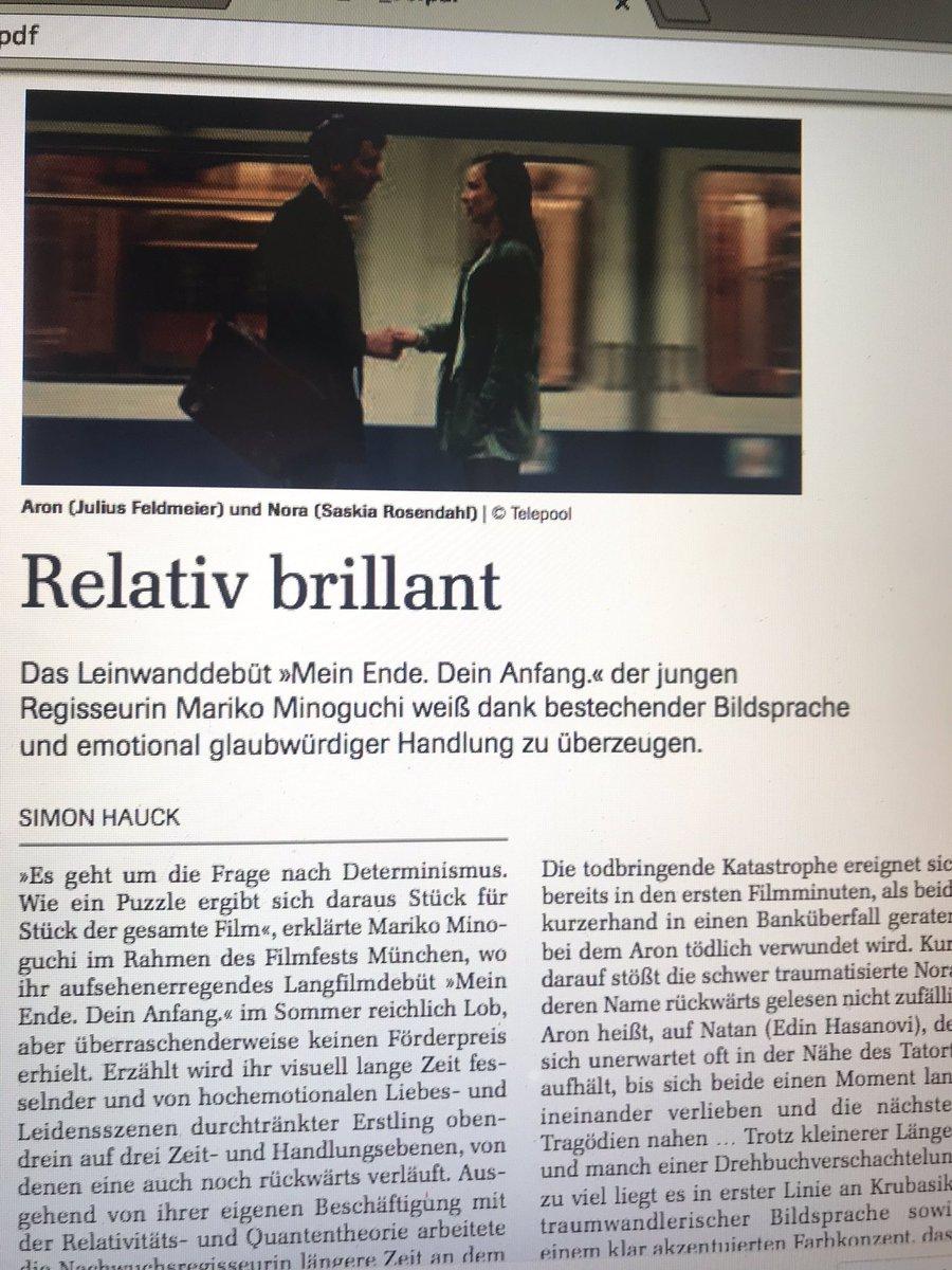 Über ein relativ beglückendes #Langfilm #Debüt von #MarikoMinoguchi : #MeinEndeDeinAnfang . Nachzulesen in unserem aktuellen @MuenchnerF (Novemberausgabe). Ab dem 28.11.2019 in den #Kinos. #Kritik #Film #JungesDeutschesKino #DeutscherFilm #Nachwuchspic.twitter.com/RtNhMTUUcf