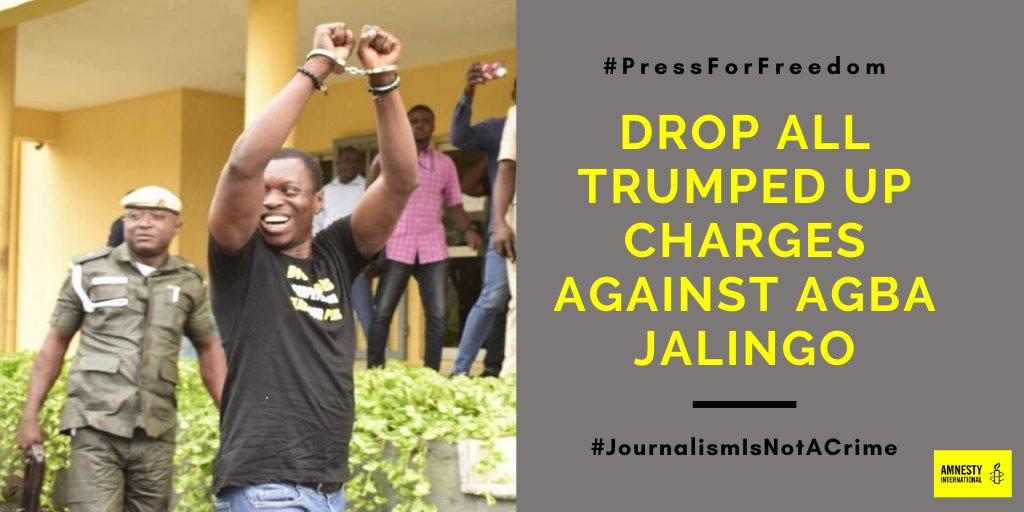 Investigative journalist Agba Jalingo, faces up to life imprison or the death penalty for calling for accountability from the Cross River State government. Freedom of the press is a right not a crime. #PressForFreedom #JalingoIsInnocent
