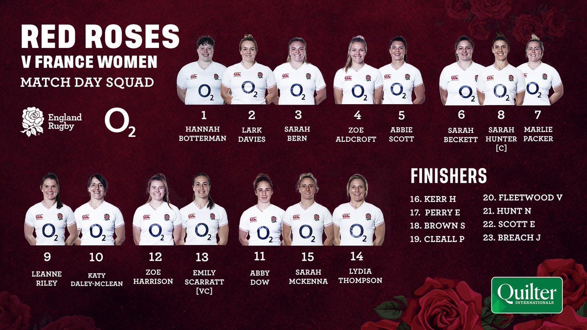 test Twitter Media - Your #RedRoses squad to take on France at Sandy Park on Saturday 🌹  📺 Watch live on @SkySports Mix and Action  🎫 Get your tickets ➡️ https://t.co/9FM5k5ZPRi ⏰ Kick off 13:10 GMT  Preview 👉 https://t.co/EkGHmYfb5z  #ENGvFRA #SendHerVictorious #QuilterInternationals https://t.co/GCLgo7xh6o