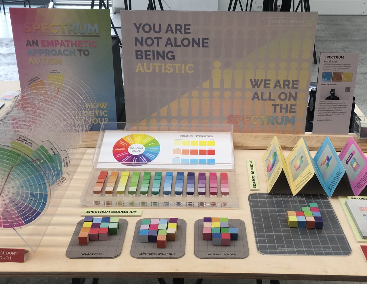 I then designed engagement approaches to bridge the divide between the neurotypical population and the autistic community through empathetic understanding, using Coding Cubes as inclusive provocations to help communicate and 'show' our autistic traits better to others. <br>http://pic.twitter.com/7LQK3S2XxW