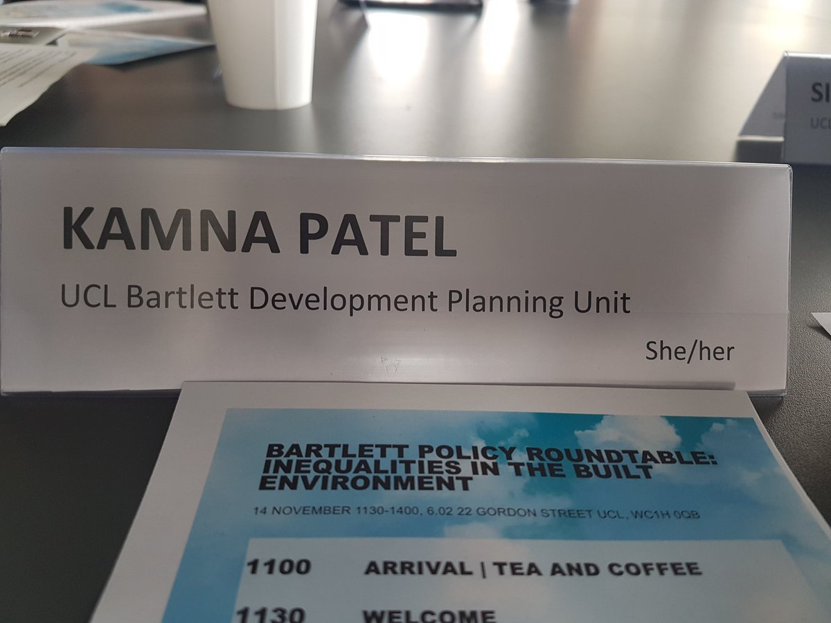 """At the Bartlett roundtable on the fantastic report """"Structurally Unsound"""" a report on inequalities in the built environment. And great job by organisers to embed good EDI practice (preferred pronoun on our name plates) #Bartletttogether @BartlettUCL https://t.co/aJ0cn5HGgl"""