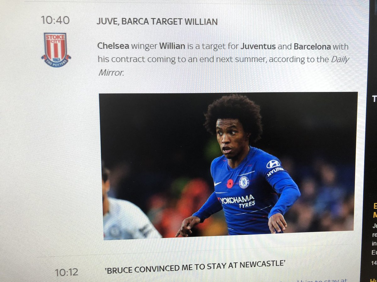 More laziness from the Sky Sports website. What does Stoke  have to do with Willian being chased by Barca and Juve?! 😂