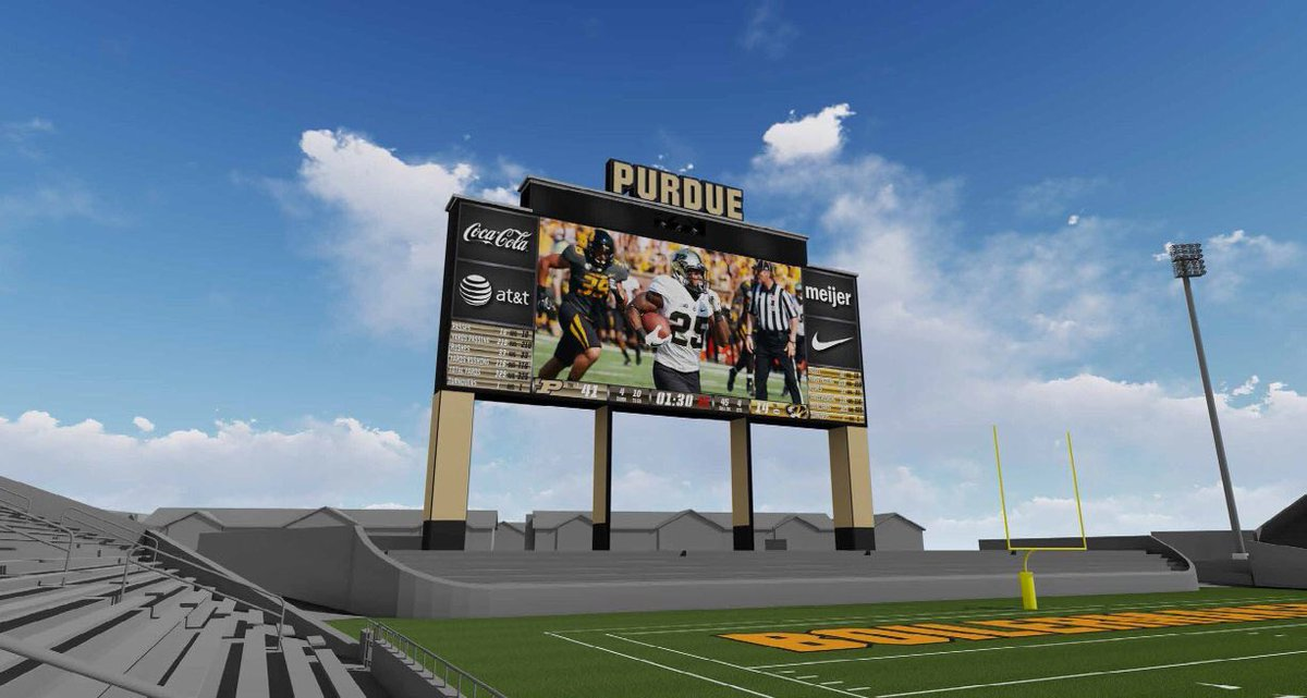 One of the LARGEST video boards in the NCAA is coming to #Purdue 😍  $10M... 56 ft x 150 ft... ready for next season. Current board comes down the first week of December @WLFI