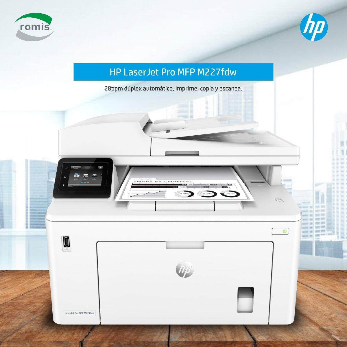 HP Multifunción LaserJet Pro M227fdw. Ideal para pequeñas oficinas que requieren un equipo versátil y robusto para sus necesidades de impresión monocromáticas. Con un ciclo de trabajo mensual de hasta 30.000 páginas. https://www.romis.com.uy/Impresora-Multifuncion-Laser-HP-LaserJet-M227fdw/…