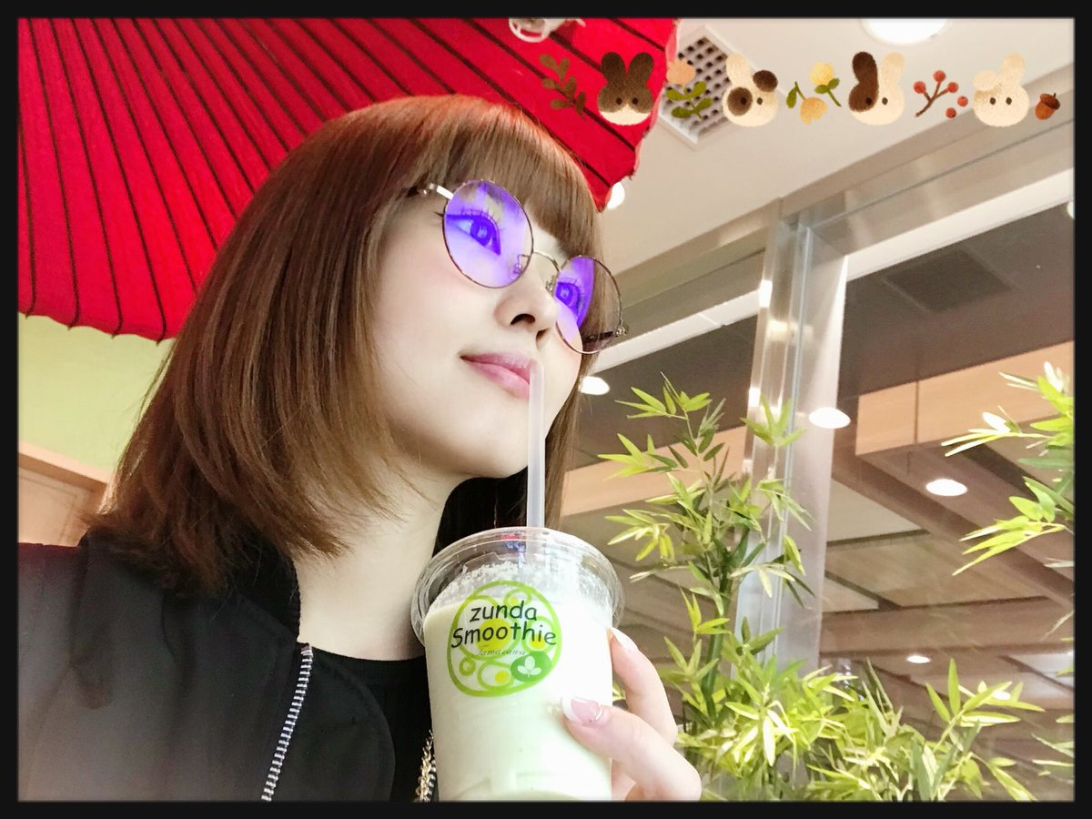 メガネの青光りがスゴい。ブルーライトカットです。外出用(度なし)と自宅用(度あり)、2本買いました。#仙台 #ずんだシェイク#メガネ女子 #まい旅