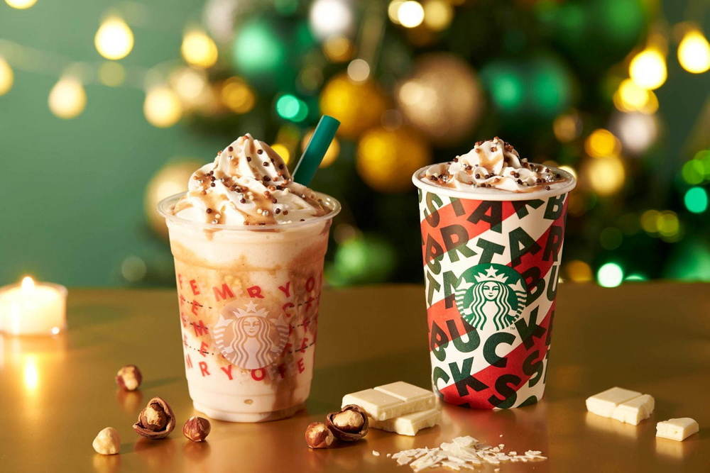 スターバックス「ナッティ ホワイト チョコレート フラペチーノ」クリスマスイルミネーションをイメージ -