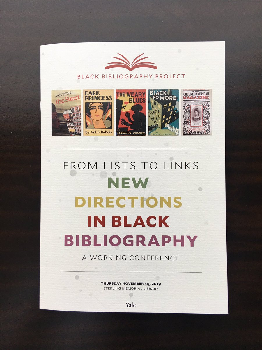 Beautiful program for today's event. Should be a great conversation among archivists, librarians, data scientists, bibliographers, book historians, and print culture scholars. #BlackBib