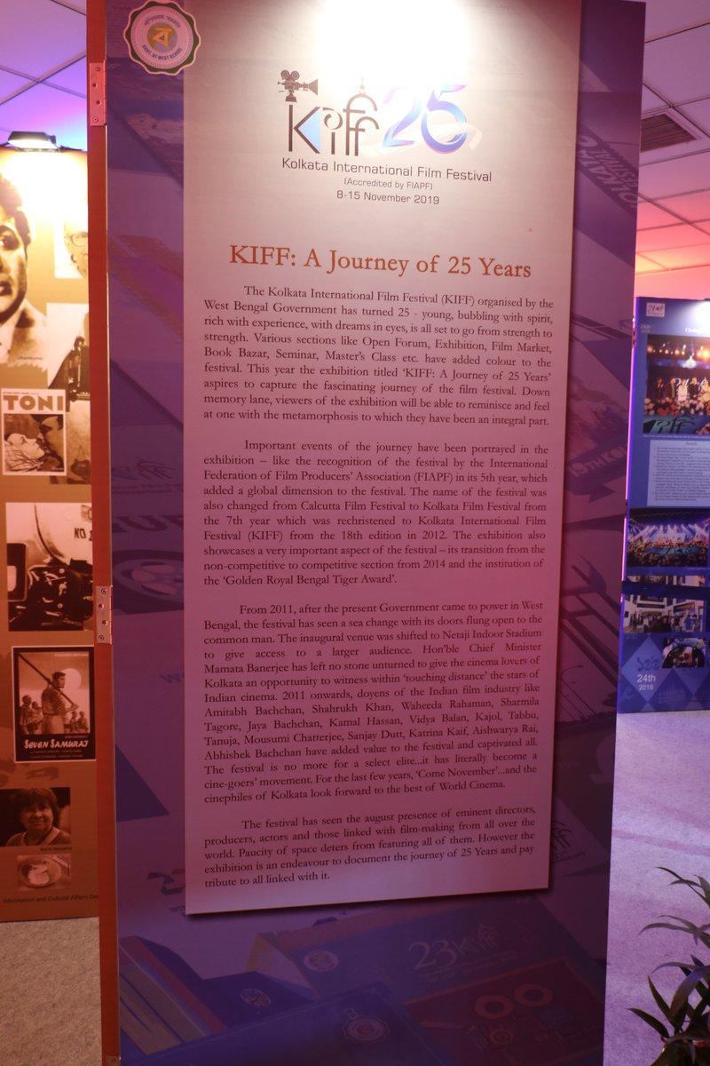 "An exhibition has been set up by the #KolkataInternationalFilmFestival to mark the milestone ""#KIFF: A Journey of 25 years"".  #KIFF2019 #KIFF25 #MovieCarnival #KIFF19 #BengalWelcomesWorldCinema #WorldCinema #silverjubilee #filmfestival #MediaIndiaGrouppic.twitter.com/0PgbA5js8u"