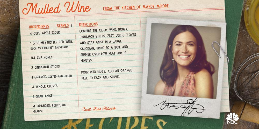 The holidays are all about family, fun, and FOOD! Cant wait to try these favorites by @TheMandyMoore. #NBCOhWhatFun
