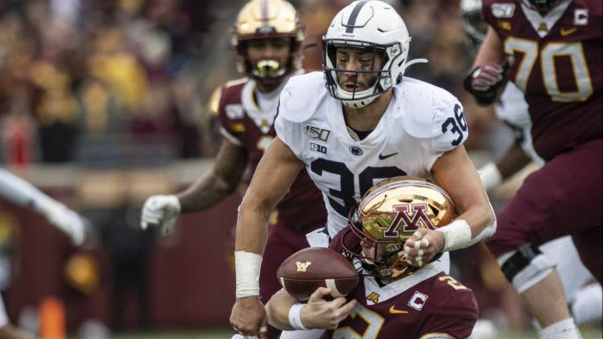 My defensive player of the game is Jan Johnson(@jan_johnson36). The senior middle linebacker & captain led the team with 11 tackles(6 solos & 5 assists) which included 3 tackles for loss  #WeAre #SoupyAwards🏆  #PSUvsMINN