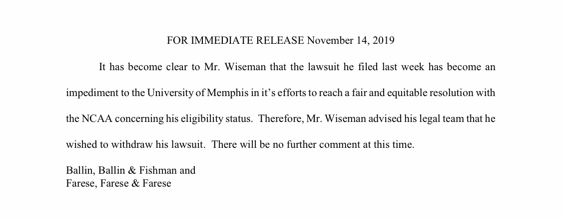 Lawyers for potential No. 1 pick James Wiseman have issued the following statement on withdrawing lawsuit against the NCAA and Memphis.