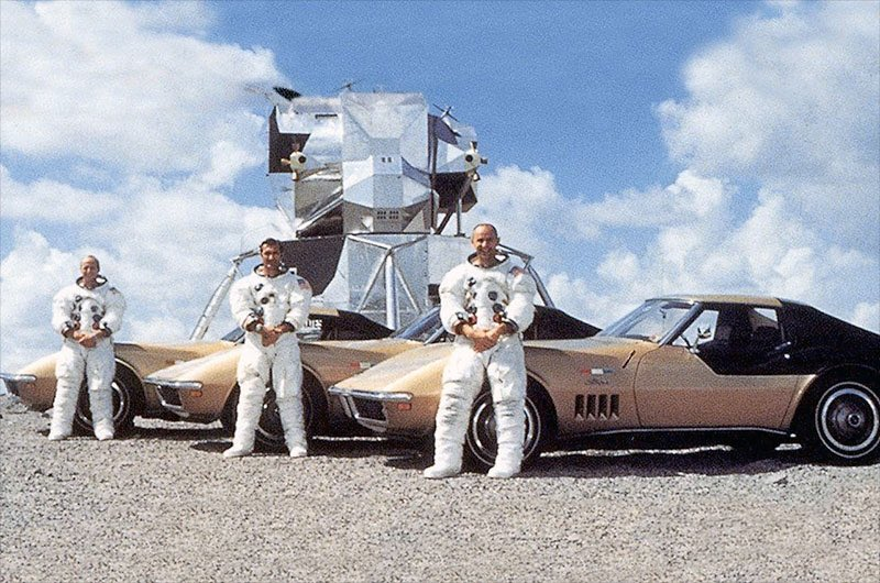 Pete Conrad, Dick Gordon and Al Bean: all navy crew to moon landing. All corvette drivers on Earth. May you all be zooming around our universe on this 50th Anniversary! #ApolloXII #Apollo50