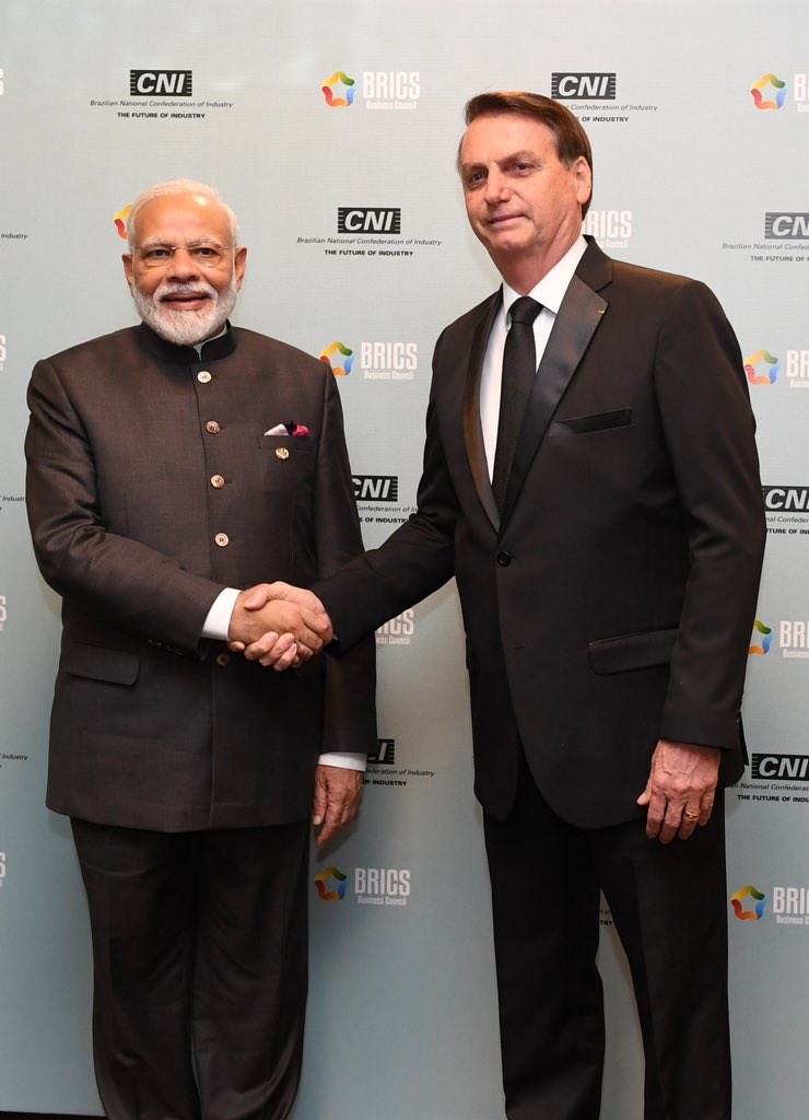 I would like to specially thank the people and Government of Brazil for the excellent hospitality during this year's BRICS Summit. India looks forward to welcoming President @jairbolsonaro for the 2020 Republic Day celebrations!