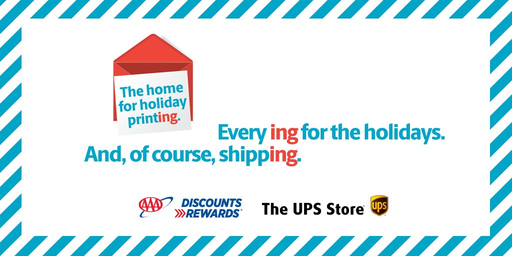 Use your #AAADiscounts now through 11/30/19 @TheUPSStore to save up to 30% on in-store and online printing projects. Find locations or start your print project now at .