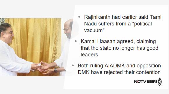 """No Good Leaders"": Kamal Haasan Backs Rajinikanth On Tamil Nadu's ""Political Vacuum"" https://www.ndtv.com/tamil-nadu-news/kamal-haasan-backs-rajinikanth-on-tamil-nadus-political-vacuum-no-good-leaders-2132661… #NDTVNewsBeeps"
