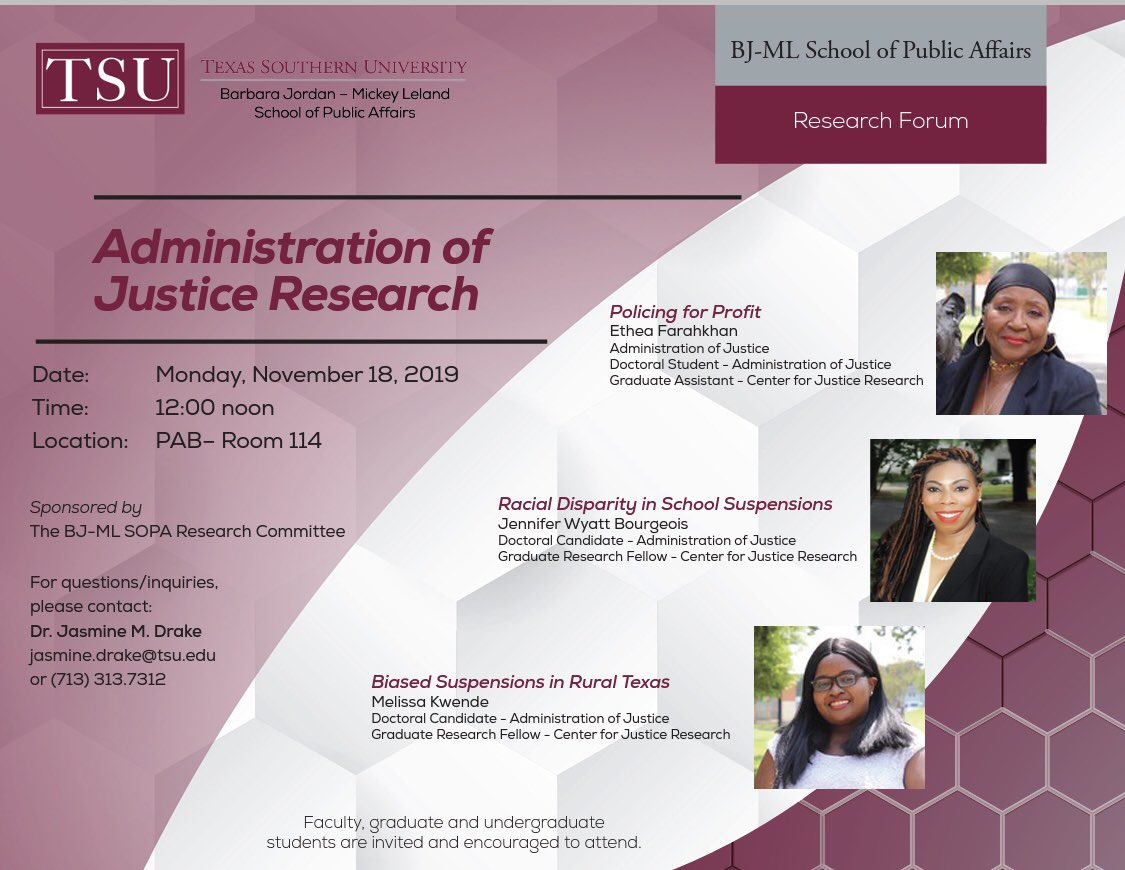 Policing for Profit and Student Suspensions are on tap for Monday's @bjmlspa Research Forum. @KwendeMelissa @JennWBourgeois