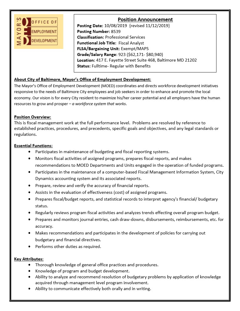 Mayor S Oed On Twitter Now Hiring Our Agency Is Hiring A Fiscal Analyst Jobs Baltimorecityjobs Governmentjobs