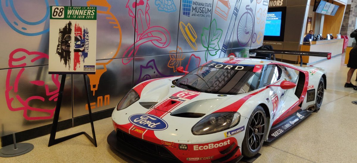 Check out this amazing addition to our lobby... it's part of the 2016 Le Mans-winning team, driven by Scott Dixon and two other drivers decorating our lobby during Ford v. Ferrari, courtesy of @CGRTeams VROOOM!