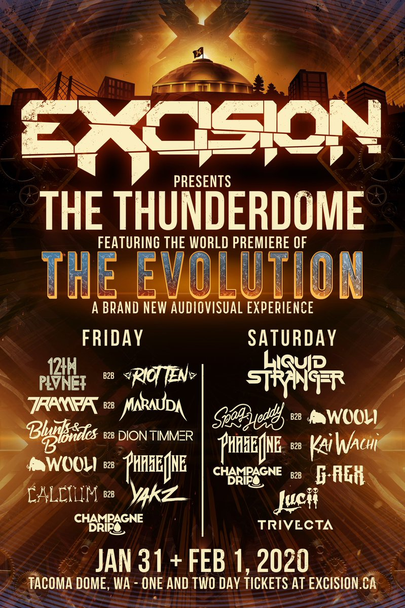 Tix are now on sale for the world premiere of The Evolution, the brand new audiovisual experience at the Thunderdome! You're not gonna want to miss either of these massive nights, hit the link below for one day or discounted 2 day passes!!     https:// found.ee/thunderdome2020    <br>http://pic.twitter.com/1c3pQZ8rQN