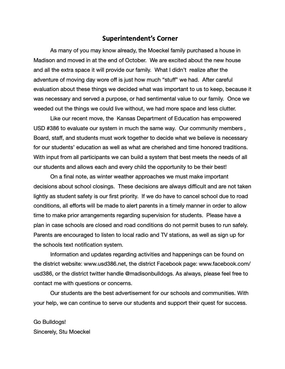 RT @madisonbulldogs: November Superintendents Corner  #BulldogPride #BulldogNation https://t.co/0j404tX3qG