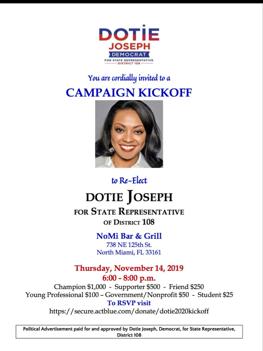 Don't forget, tonight is the campaign kickoff for my 2020 re-election as State Representative for District 108. I appreciate your support and look forward to seeing you in person or receiving your support online. RSVP/contribute here  https://buff.ly/2p0XkbW  #TeamDotie