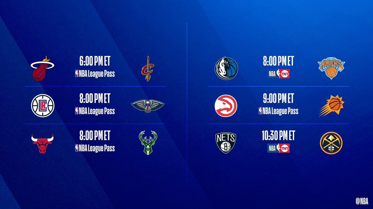 🚨  6-game slate TONIGHT 🚨  ▪️ Trae Young coming off 42 PTS (8 3 PM) as @ATLHawks face @Suns  ▪️ Luka averaging 9.1 APG as @dallasmavs visit @nyknicks   📺: @NBAonTNT  📲💻: NBA League Pass  ➡️: https://nba.app.link/leaguepass1