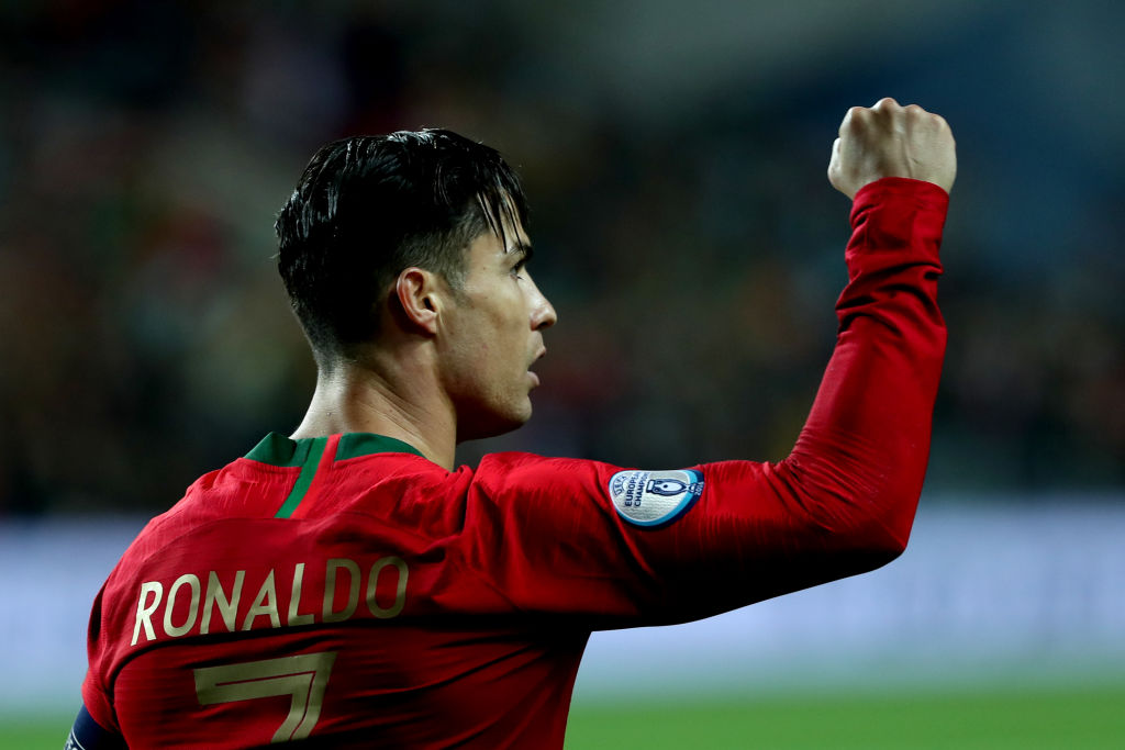 98 and counting....Cristiano Ronaldo is closing in on 100 international goals after his hat-trick against Lithuania. More: https://bbc.in/3572EtT
