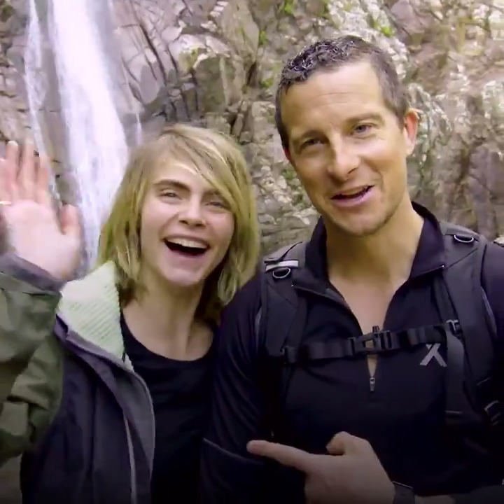 Actress and supermodel @CaraDelevingne joins Bear Grylls in the mountains of Sardinia for some heart-stopping obstacles on the jagged cliffs. #RunningWild