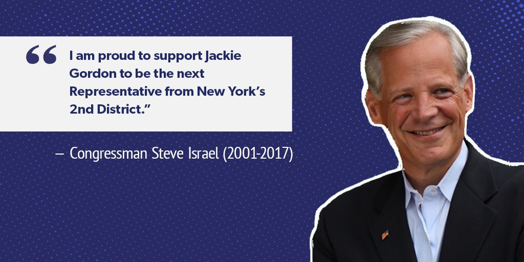 .@RepSteveIsrael was a true advocate for his constituents and our state. He fought hard for the needs of Long Island families - delivering nearly $9 million in back pay for veterans. I am honored to earn his endorsement. #NY02