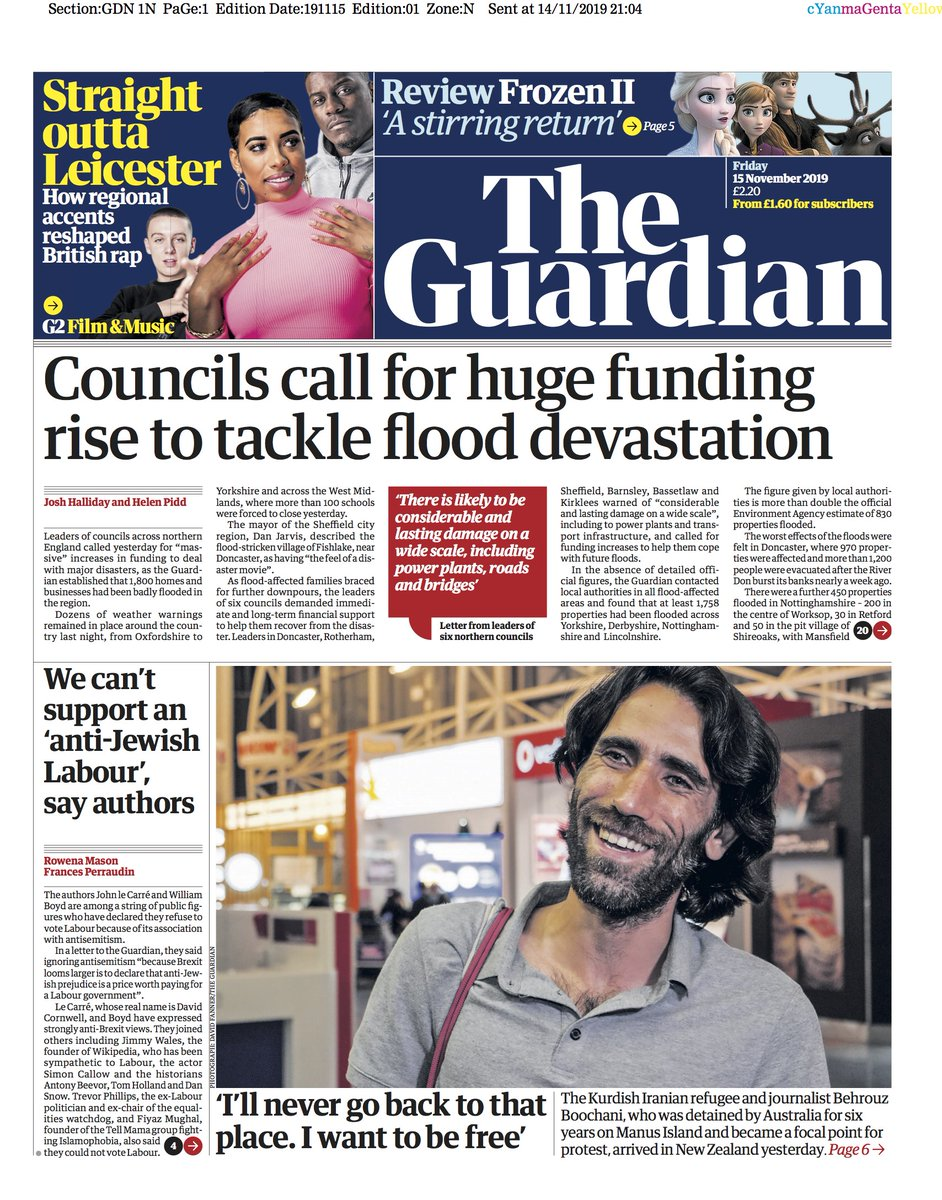Guardian front page, Friday 14 November 2019: Councils call for huge funding rise to tackle flood devastation