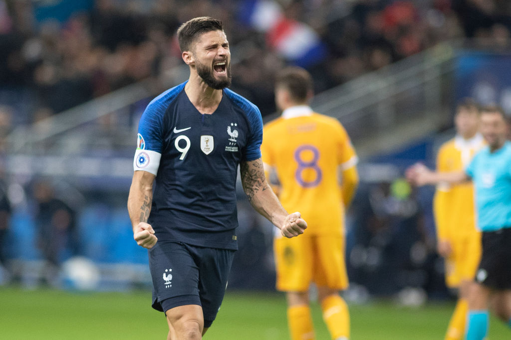 Chelsea striker Olivier Giroud scored the winner as world champions France came from a goal down to beat Moldova. More: https://bbc.in/2CKkXJ9