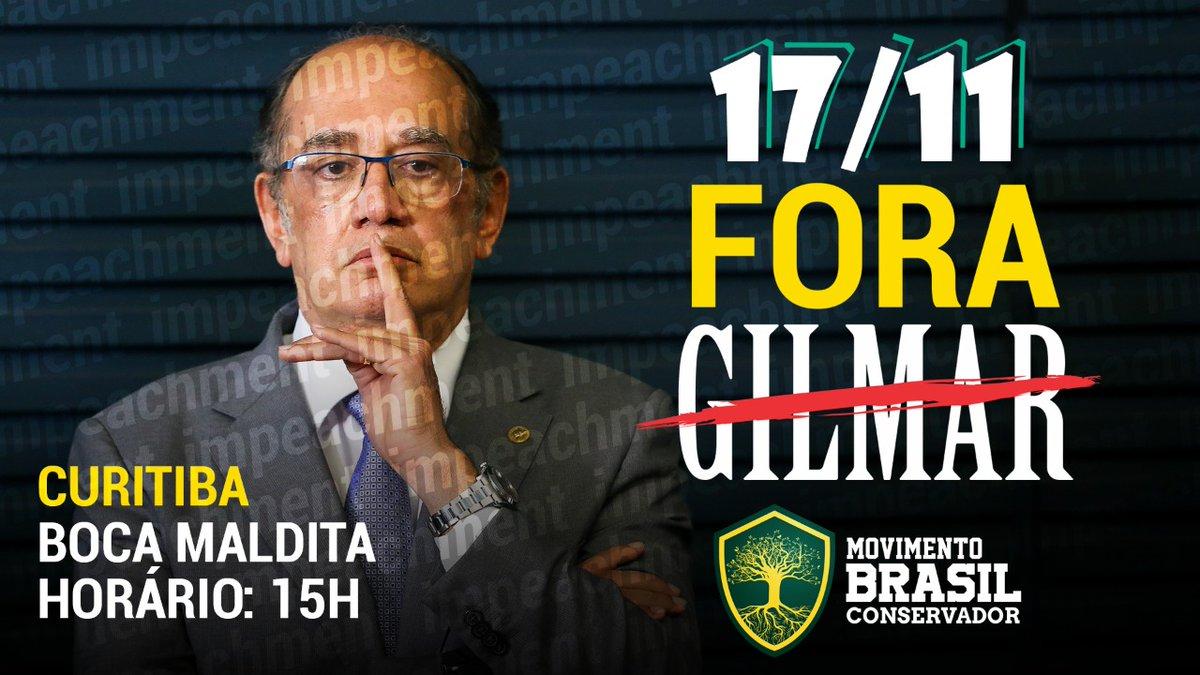 ATENÇÃO: NOVO LOCAL EM CURITIBAManifestação será na Boca MalditaPor favor divulguem!!!#Dia17AdeusGilmarMendes