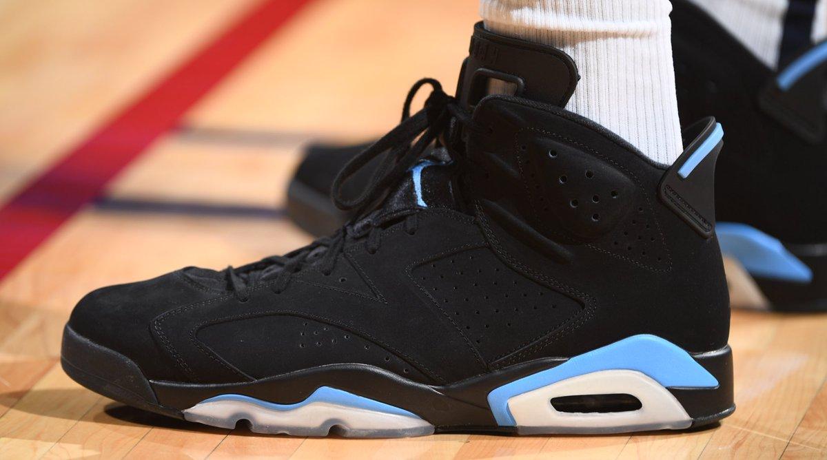 "Jerami Grant broke out the ""UNC"" Jordan VI at home!   #NBAKicks #MileHighBasketball"