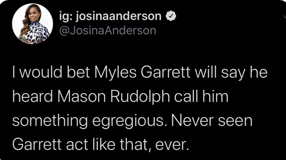 Ig Josinaanderson On Twitter Regardless Of Whether Myles Garrett Feels His Helmet Was Being Tugged At 1st By Mason Rudolph Or That Rudolph Also Charged At Him After Mg Took His Helmet