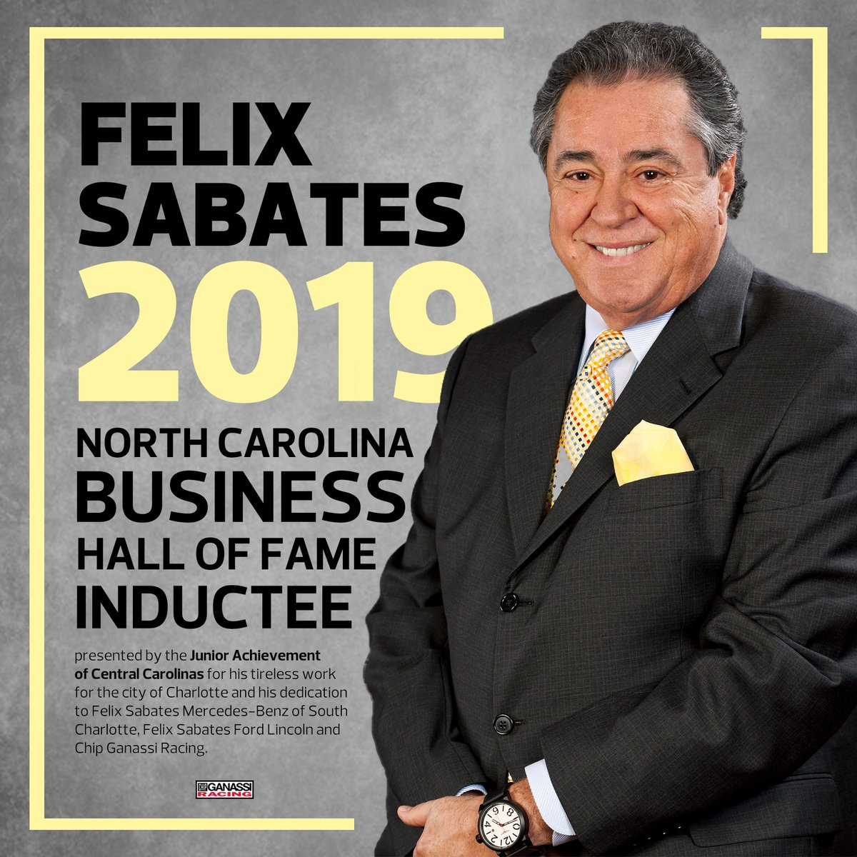 Join us in congratulating Felix Sabates on his induction into the North Carolina Business Hall of Fame presented by @JACenCarolinas!