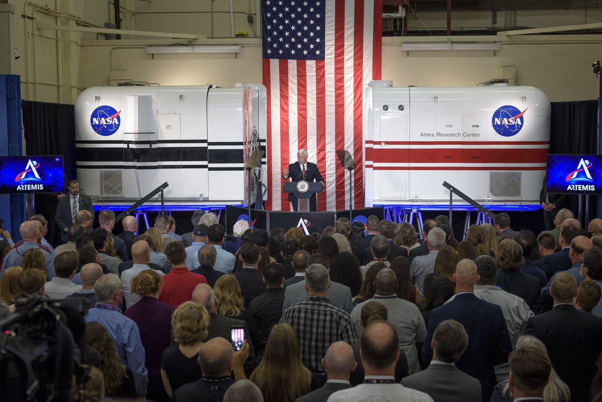 #ICYMI: Today, @VP Pence toured @NASAAmes and talked about our #Artemis program and plans to return astronauts to the Moon in 2024. Learn more about his visit to NASA in Silicon Valley: go.nasa.gov/2NMjzvO