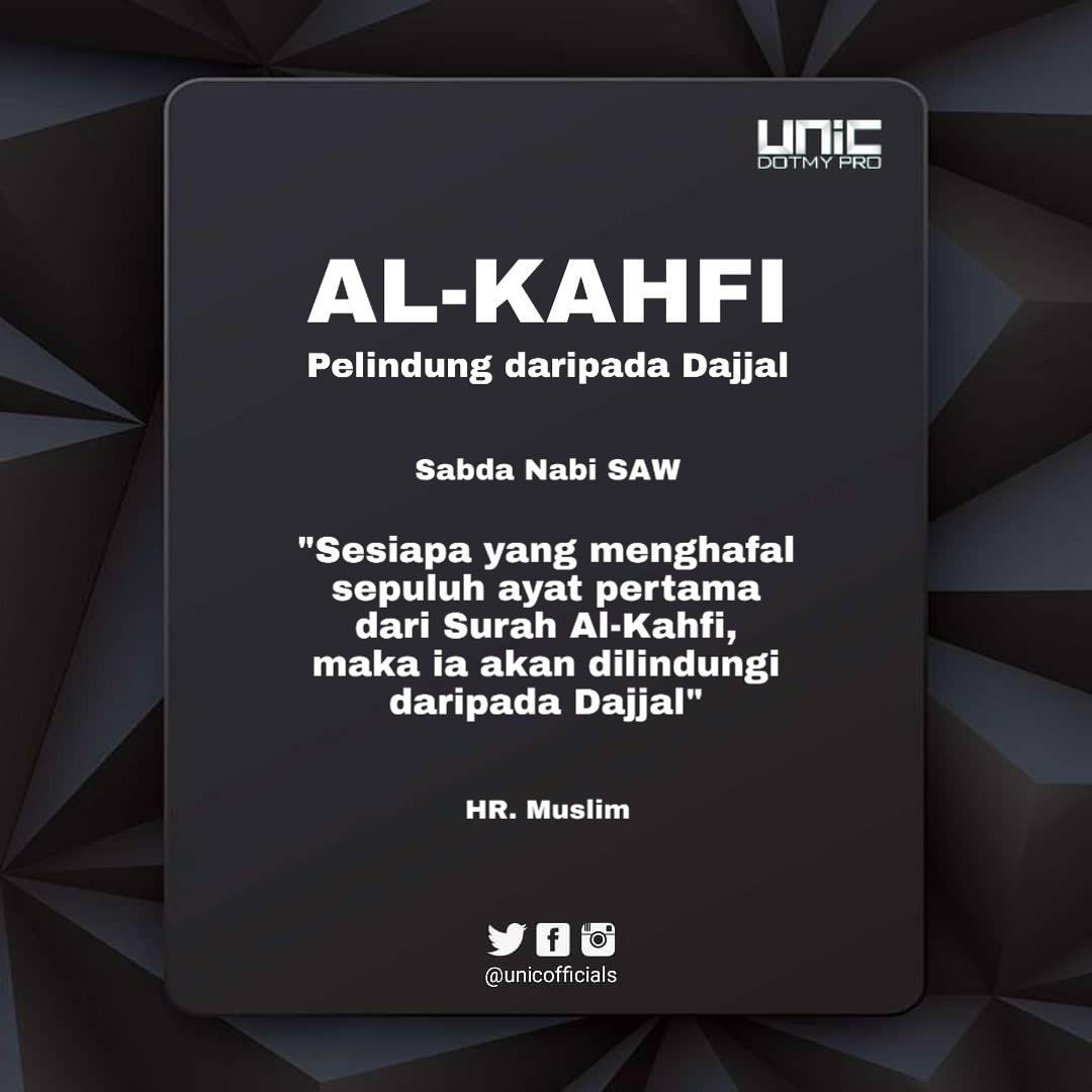 Hafal 10 ayat pertama begitu besar manfaatnya, bayangkan jika hafal 1 surah. . . #alkahfi #fitnahdajjal #fitnahakhirzamanpic.twitter.com/Cu6YsL44d4